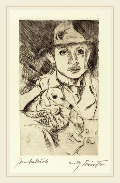 Hund Drawing - Lovis Corinth, Boy With Dog Knabe Mit Hund by Litz Collection