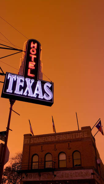 Stockyards Photograph - Low Angle View Of A Neon Sign by Panoramic Images