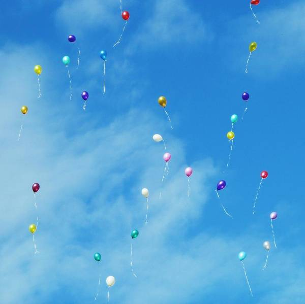 Low Angle View Of Balloons Flying Against Sky Art Print by Alexey Ivanov / EyeEm
