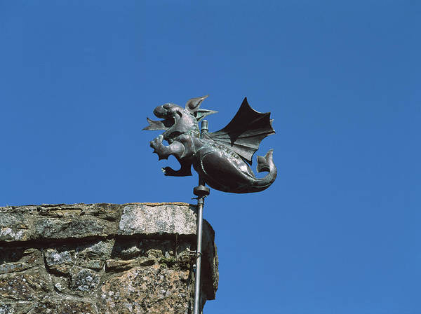 Weather Vane Photograph - Low Angle View Of Girouette Dragon by Panoramic Images