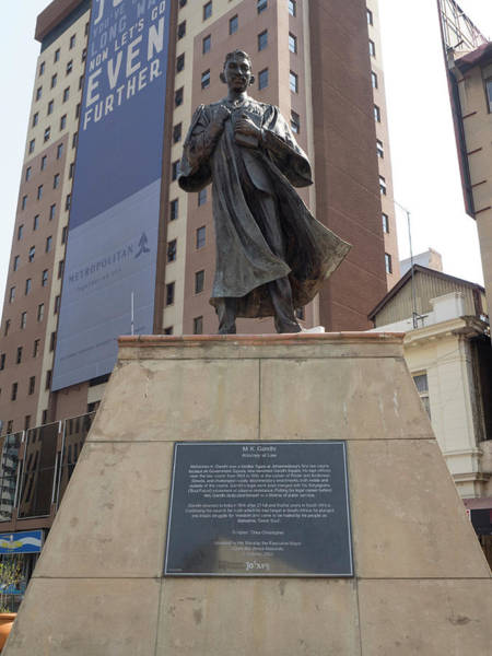 Johannesburg Wall Art - Photograph - Low Angle View Of Mahatma Gandhi Statue by Panoramic Images