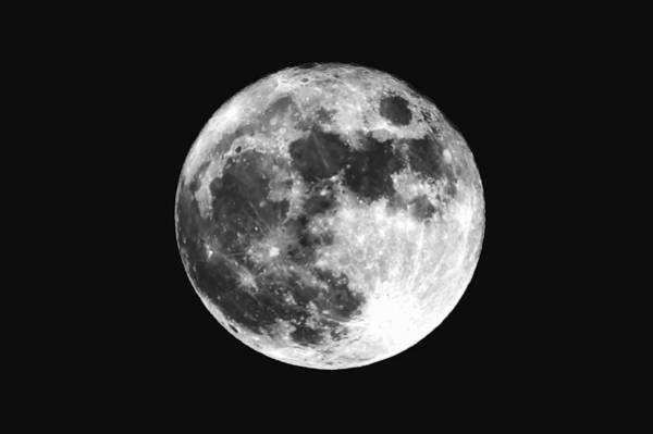 Low Angle View Of Moon Against Clear Sky At Night Art Print by Mark Sutton / EyeEm