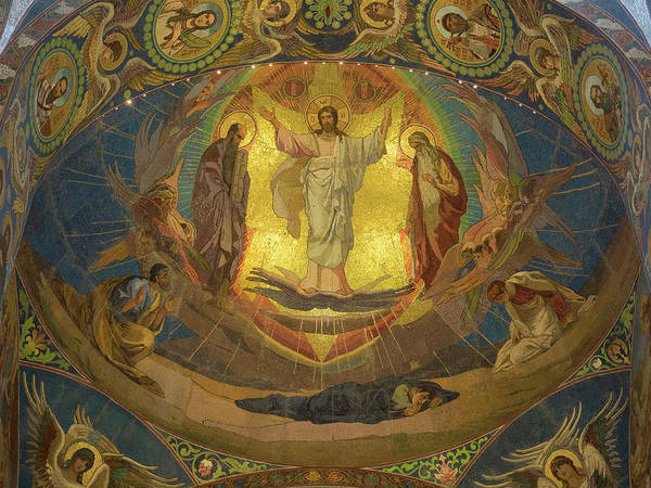 Cathedral Of Christ The Savior Photograph - Low Angle View Of Mosaic On Ceiling by Panoramic Images