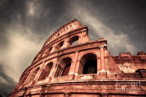 Coliseum Photograph - Low Angle View Of The Roman Colosseum by Stefano Senise