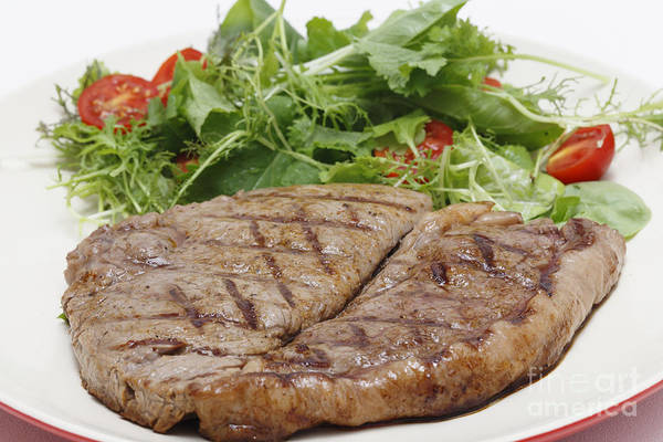 Photograph - Low Carb Steak And Salad Closeup by Paul Cowan