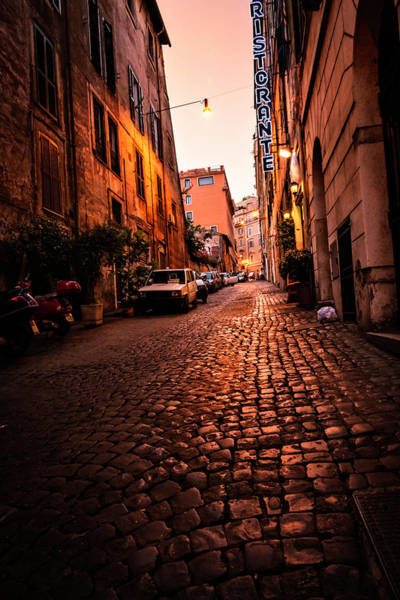 Vertical Perspective Photograph - Low Key Image Of Typical Rome Street At by Apomares