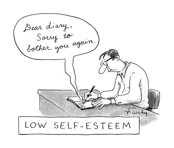 November 25th Drawing - Low Self-esteem 'dear Diary by Mike Twohy