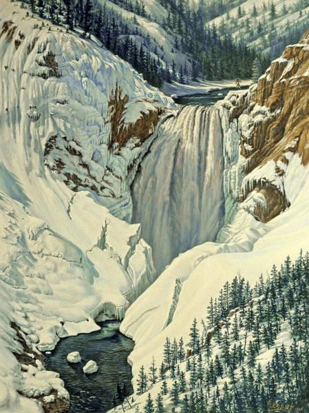 Wall Art - Painting - Lower Falls-april by Paul Krapf