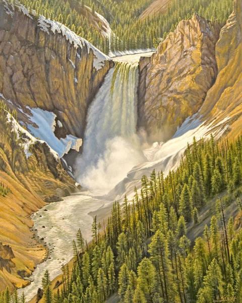 Yellowstone Wall Art - Painting - Lower Falls-may   by Paul Krapf