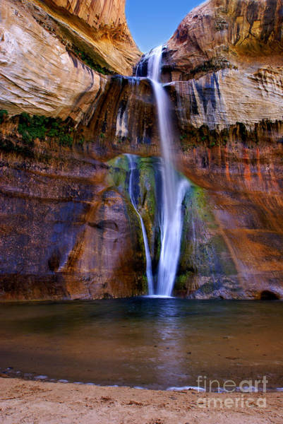 Petroglyph Photograph - Lower Falls Of Calf Creek by Carolyn Rauh