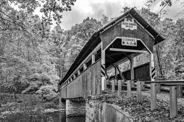 Laurel Hill Creek Photograph - Lower Humbert Covered Bridge 3 Bw by Steve Harrington