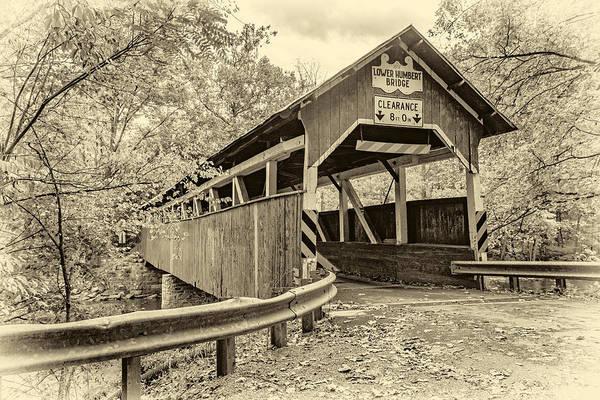 Laurel Hill Creek Photograph - Lower Humbert Covered Bridge Sepia by Steve Harrington