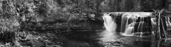 Photograph - Lower Lewis River Waterfall Panorama - Black And White by Mark Kiver