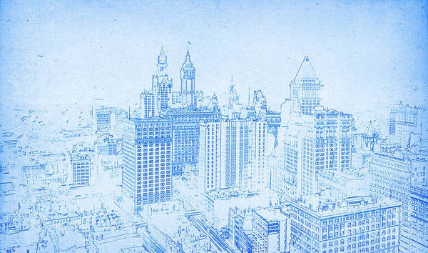 Drawing - Lower Manhattan New York 1912  by Celestial Images