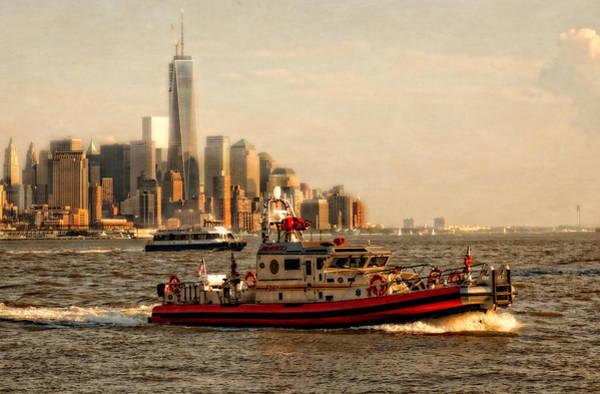 Fireboat Wall Art - Photograph - Lower Manhattan New York by Linda Karlin