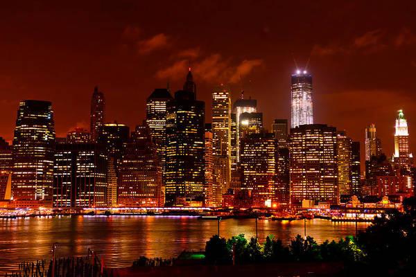 Photograph - Lower Manhattan Night Skyline by Greg Norrell