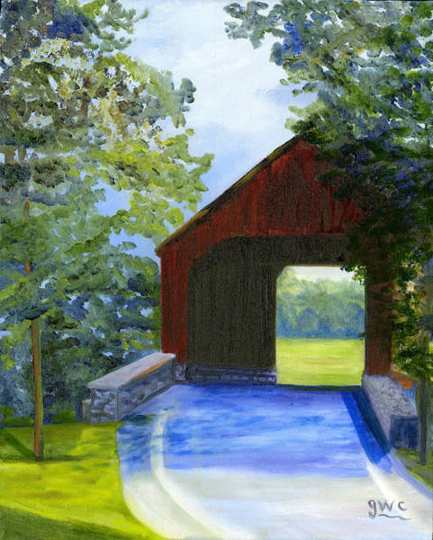 Wall Art - Painting - Loy Station Covered Bridge by Gloria Condon