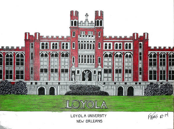 Wall Art - Drawing - Loyola University New Orleans by Frederic Kohli