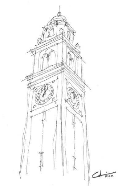 Bengal Tiger Drawing - Lsu Bell Tower Study by Calvin Durham