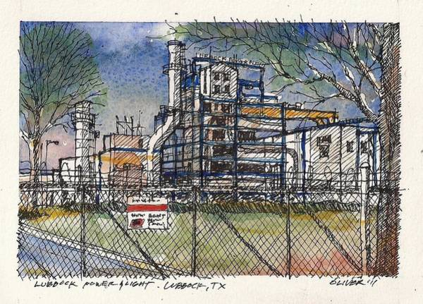 Power Station Wall Art - Mixed Media - Lubbock Power And Light by Tim Oliver