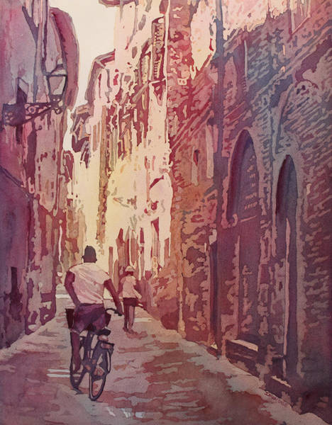 Bicyclist Wall Art - Painting - Lucca by Jenny Armitage