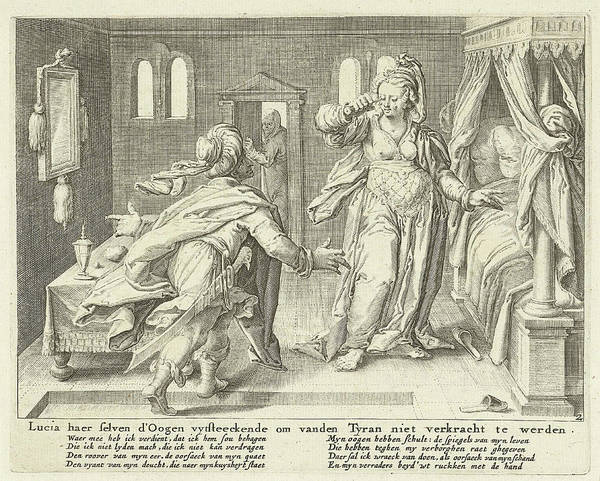 Suffering Drawing - Lucia Raises Her Eyes, Zacharias Dolendo by Jacob De Gheyn (ii) And Claes Jansz. Visscher (ii)