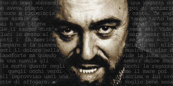 Luciano Wall Art - Mixed Media - Luciano Pavarotti Horizontal by Tony Rubino