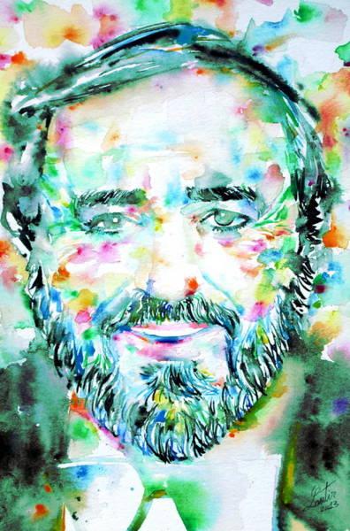 Luciano Wall Art - Painting - Luciano Pavarotti - Watercolor Portrait by Fabrizio Cassetta