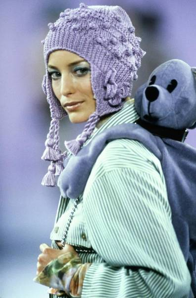 Knit Hat Photograph - Lucie De La Falaise On A Runway For Anna Sui by Guy Marineau