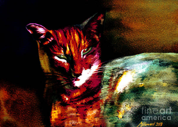 Pink Floyd Painting - Lucifer Sam Tiger Cat by Martin Howard