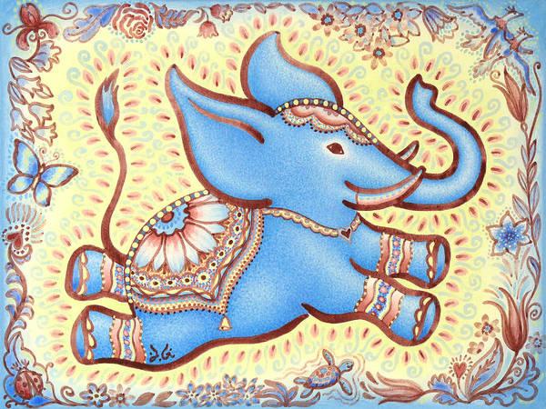 Lucky Charm Painting - Lucky Elephant Blue by Judith Grzimek