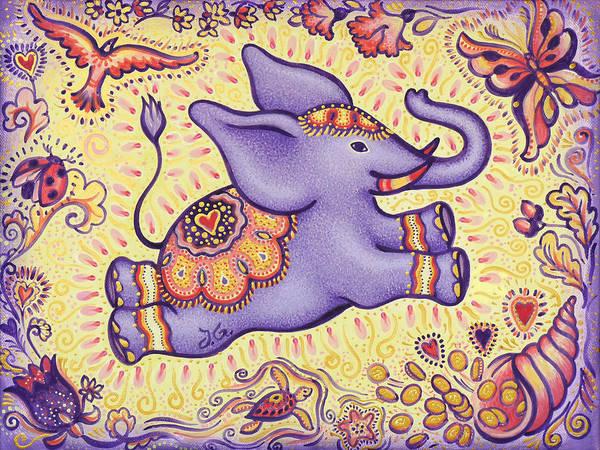Lucky Charm Painting - Lucky Elephant Purple by Judith Grzimek