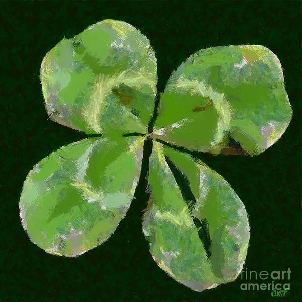 Lucky Clover Painting - Lucky Four Leaf Clover by Dragica  Micki Fortuna