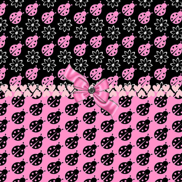 Digital Art - Lucky Pink Ladybugs by Debra  Miller