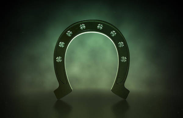 Horse Shoe Digital Art - Lucky Shamrock Horseshoe by Allan Swart