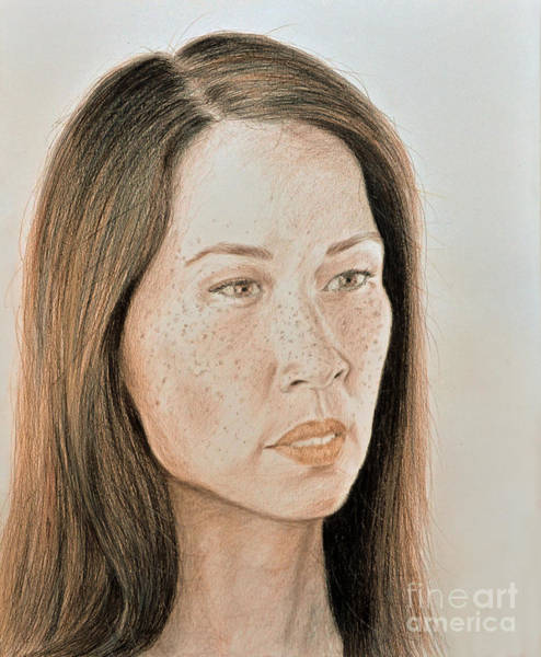 Freckle Drawing - Lucy Liu Natural Beauty by Jim Fitzpatrick