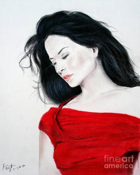 Leading Actress Wall Art - Mixed Media - Lucy Liu The Lady In Red by Jim Fitzpatrick