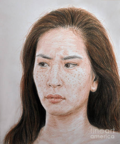 Freckle Drawing - Lucy Liu The Stare by Jim Fitzpatrick