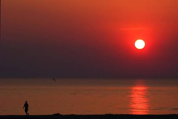 Photograph - Ludington Beach Sunset by Lars Lentz