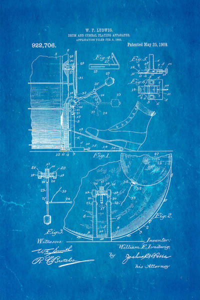 Wall Art - Photograph - Ludwig Drum And Cymbal Apparatus Patent Art 1909 Blueprint by Ian Monk