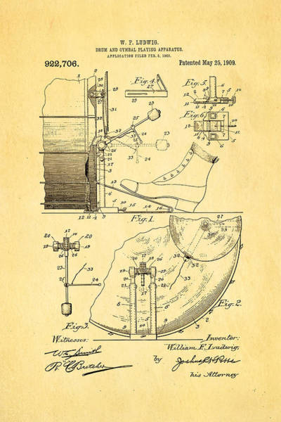 Inventor Photograph - Ludwig Drum And Cymbal Apparatus Patent Art 1909 by Ian Monk