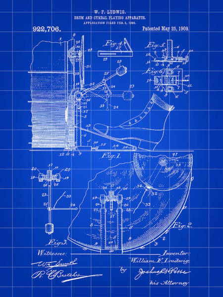 Drum Player Wall Art - Digital Art - Ludwig Drum And Cymbal Foot Pedal Patent 1909 - Blue by Stephen Younts