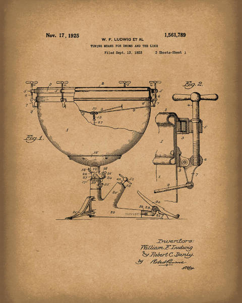 Drawing - Ludwig Drums 1925 Patent Art Brown by Prior Art Design