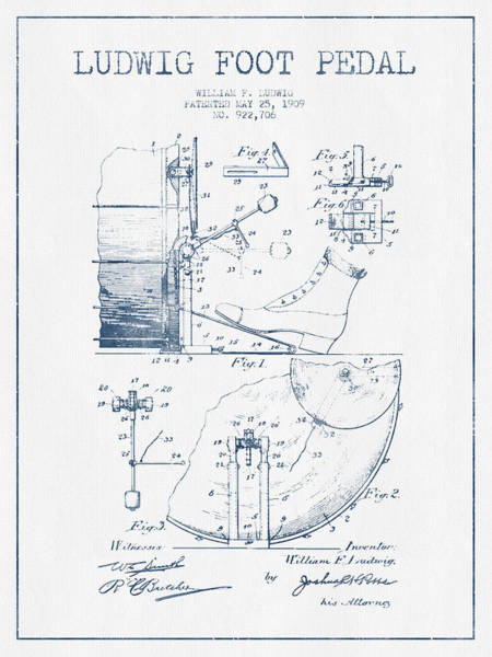Pedal Wall Art - Digital Art - Ludwig Foot Pedal Patent Drawing From 1909 - Blue Ink by Aged Pixel