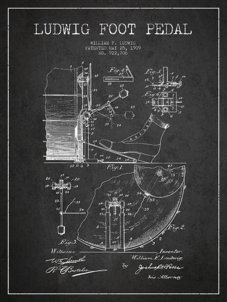 Country Living Digital Art - Ludwig Foot Pedal Patent Drawing From 1909 - Dark by Aged Pixel