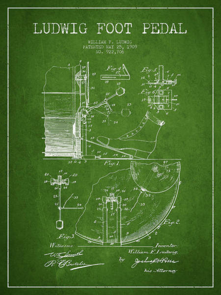 Country Living Digital Art - Ludwig Foot Pedal Patent Drawing From 1909 - Green by Aged Pixel