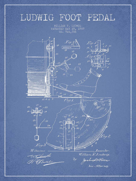 Pedal Wall Art - Digital Art - Ludwig Foot Pedal Patent Drawing From 1909 - Light Blue by Aged Pixel