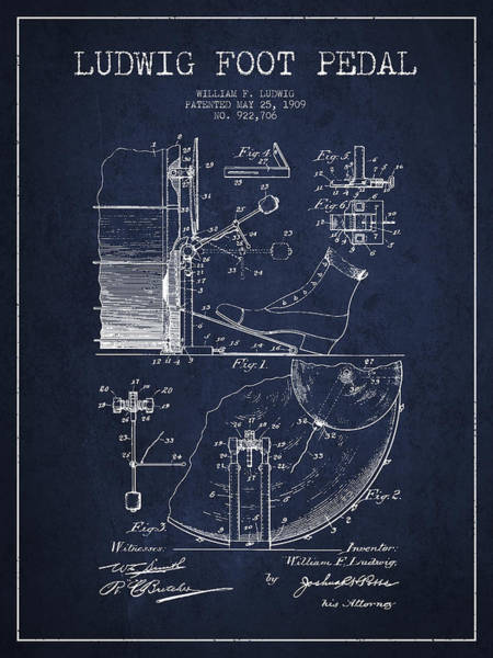 Pedal Wall Art - Digital Art - Ludwig Foot Pedal Patent Drawing From 1909 - Navy Blue by Aged Pixel