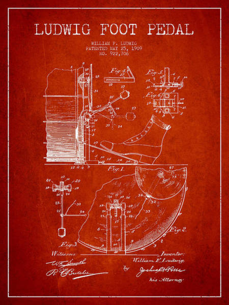 Pedal Wall Art - Digital Art - Ludwig Foot Pedal Patent Drawing From 1909 - Red by Aged Pixel