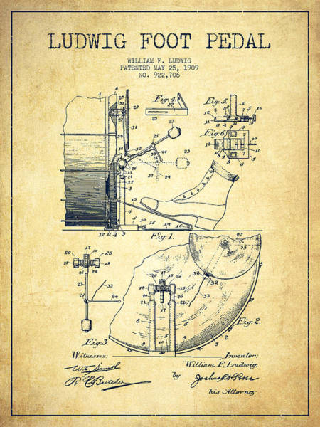 Country Living Digital Art - Ludwig Foot Pedal Patent Drawing From 1909 - Vintage by Aged Pixel